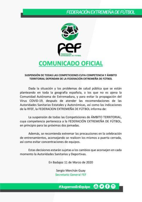 Comunicado oficial de la FExF que ha enviado a todos los clubes inscritos